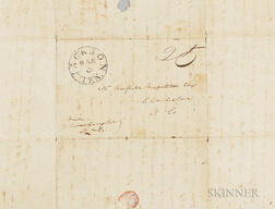 Stampless Letter from a Farmer in Jackson, Tennessee, to a Plantation Owner in South Carolina Regarding the Purchase of a Family of Neg