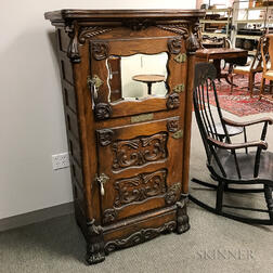 Belding's National Carved Oak and Mirrored Parlor Ice Box