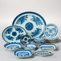 Fourteen Pieces of Blue and White Export Porcelain