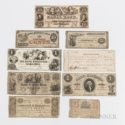 Small Group of Obsolete Bank Notes and Scrip