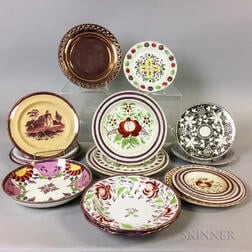 Sixteen Lustre Ceramic Plates and Bowls
