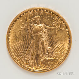 1909/8 $20 St. Gaudens Double Eagle Gold Coin.