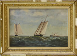American School, 19th Century       Two Sailboats and a Steamer