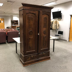 Renaissance Revival Walnut and Burl Veneer Armoire