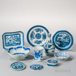 Ten Pieces of Blue and White Export Porcelain