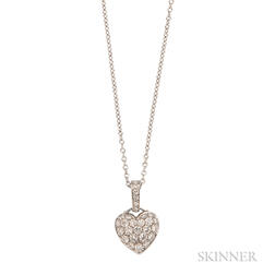 Platinum and Diamond Heart Pendant, Tiffany & Co.
