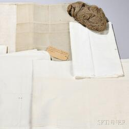 Six Shaker Textiles and a Bundle of Flax