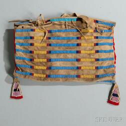 Crow Beaded Buffalo Hide Possible Bag