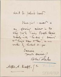 Machen, Arthur (1863-1947) Three Autograph Letters Signed, 1923.