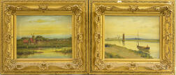 Pair of Framed J. Bergen Continental Oil on Canvas River Scenes