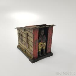 "Polychrome Cast Iron ""Cabin"" Mechanical Bank"