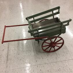 Painted Wood and Iron Flower Cart