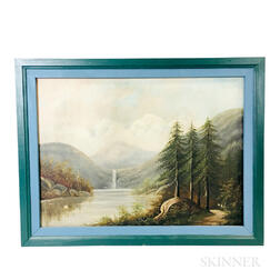 American School, 19th/20th Century       Hudson River Scene with Waterfall
