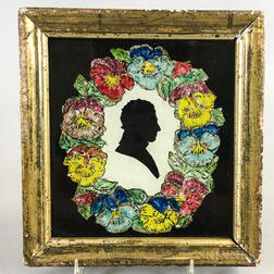 Framed Reverse-painted Silhouette of a Man with Floral Border