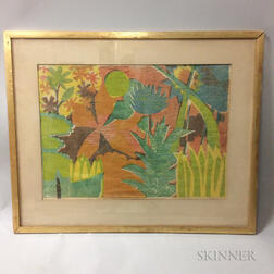Framed Clay Hill Colored Woodcut Landscape
