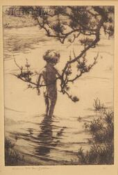 Lot of Three Prints:    Auguste Louis Brouet (French, 1872-1941)   Mardi a L'Ouen,