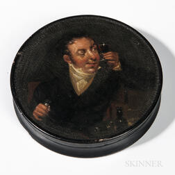Polychrome Painted Papier-mache Snuff Box with a Wine Patron
