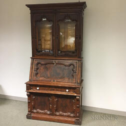 Renaissance Revival Glazed Walnut and Burl Veneer Desk/Bookcase