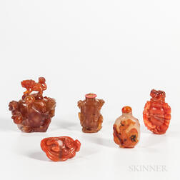 Five Agate Snuff Bottles