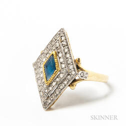 14kt Gold, Rose-cut Diamond, and Sapphire Ring