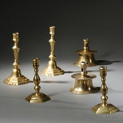 Three Pairs of Early Brass Candlesticks