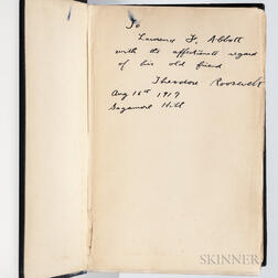 Roosevelt, Theodore (1858-1919) An Autobiography  , Signed Presentation Copy.
