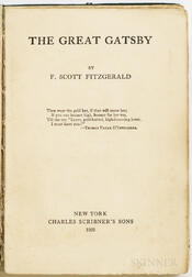Fitzgerald, F. Scott (1896-1940) The Great Gatsby  , First Edition.