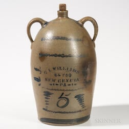 Five-gallon Cobalt-decorated Double-handled Stoneware Jug