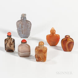Six Agate Snuff Bottles