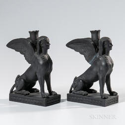 Pair of Wedgwood Black Basalt Sphinx Candlesticks