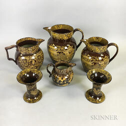 Six Pieces of Staffordshire Brown and Yellow Transfer-decorated Tableware