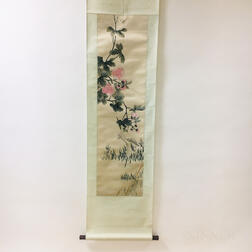 Hanging Scroll with Embroidered Painting