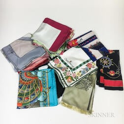Group of Designer Silk Fashion Scarves