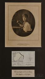Autographed Postcard and with Three Framed Photogravures of Tsar Nicholas II's Child