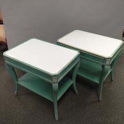 Pair of Louis XVI-style Green/Blue-painted Bedside Tables