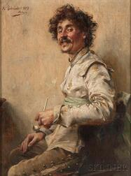 Albert Friedrich Schröder (German, 1854-1939)      Smiling Cavalier with a Pipe