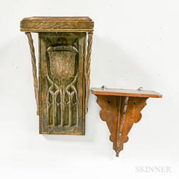 Two Carved Wood Wall Brackets