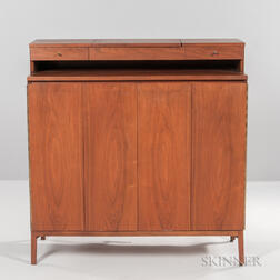 Paul McCobb (1917-1969) for Calvin Mahogany, Brass, and Glass Gentleman's Chest