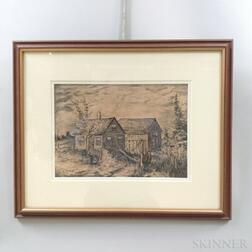 Framed Aldro Hibbard (Massachusetts/Vermont, 1886-1972) Pen and Ink Sketch of a Cabin