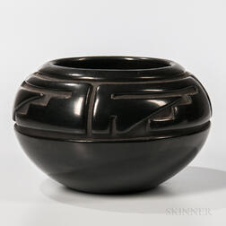 Carved Blackware Pottery Bowl