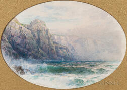 William Trost Richards (American, 1833-1905)      Towering Cliffs and Surf