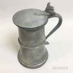 Large Continental Pewter Flagon