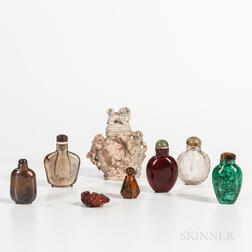 Eight Stone and Amber Snuff Bottles