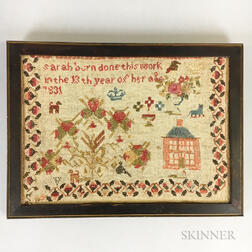 "Framed ""Sarah Bern"" Needlework Sampler"