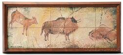Ceramic Tile Picture Inspired by Paleolithic Paintings
