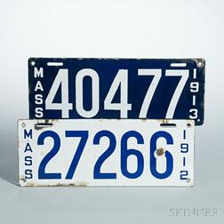 Two Early Massachusetts License Plates