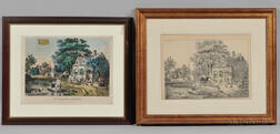 Currier & Ives, Publishers (American, 1857-1907)    Lithograph The Village Street  , and a Pencil Sketch of the Same Scene