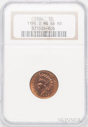 1886 Type 2 Indian Head Cent, NGC MS66RD