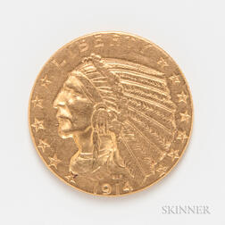 1914 $5 Indian Head Gold Coin.