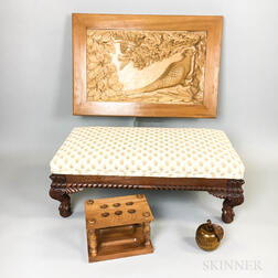 Ron Wilkinson (British, Late 20th Century) Carved Footstool, Wall Plaque, Pipe Holder, and Box
